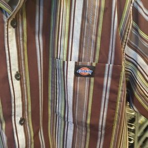 Dickies Brown/Green/White Striped Shirt